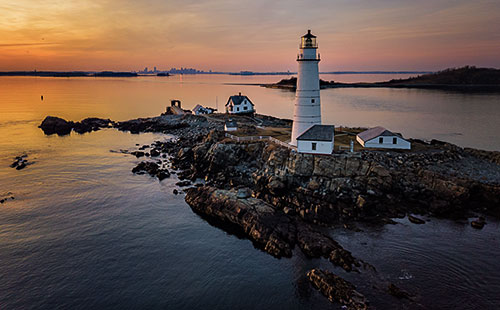 Boston Light at Sunset Greg Sager Historic Site