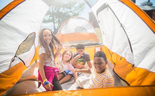 Peddocks Island Kids Camping in Tent