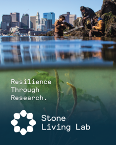 City line above water line. Text reads: Resilience through research, Stone Living Lab.