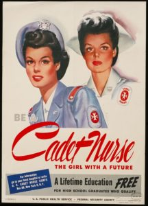 WWII era poster with two nurses.